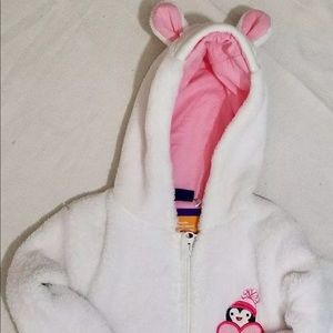 Other - White Bunny One Piece Zips Up Jammies Costume 6-12